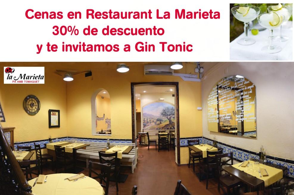 Cenas en Restaurant La Marieta Mollet 30% de descuento y Gin Tonic