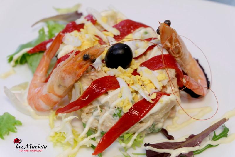 Ensaladilla con langostinos Restaurant La Marieta Mollet del Vallès
