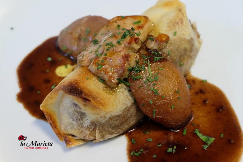 Restaurante La Marieta, íntimo y familiar, aniversarios,cenas románticas, cenas de empresa y celebraciones en Mollet del Vallès, Barcelona, crujiente de pato