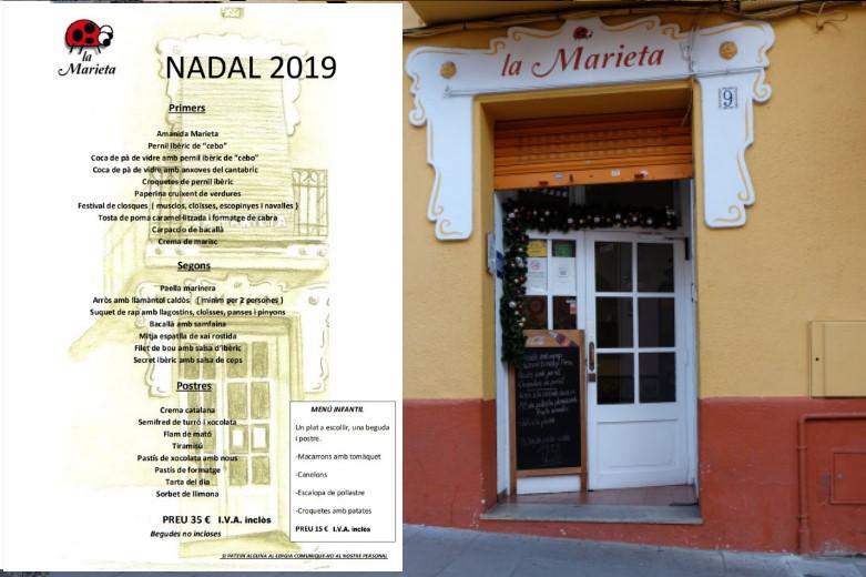 Restaurantes comidas de fiestas de Nadal en Mollet, la Marieta